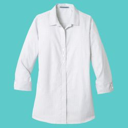 Ladies 3/4 Sleeve Micro Tattersall Easy Care Shirt Thumbnail